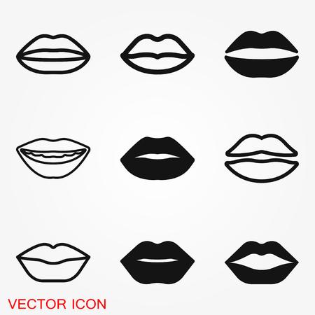 Lips icon, kiss icon, logo, illustration, vector sign symbol for design Ilustração