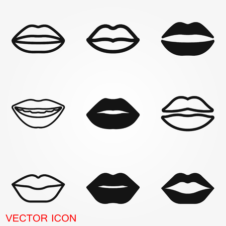 Lips icon, kiss icon, logo, illustration, vector sign symbol for design Illustration