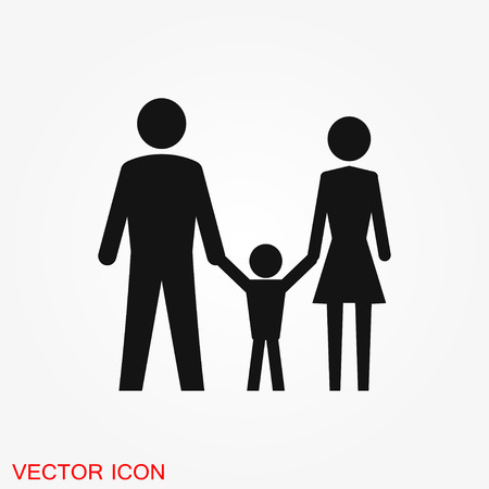 Family icon in flat style. logo, illustration, vector sign symbol for design Çizim