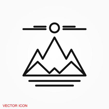 Mountain icon logo, vector sign symbol for design