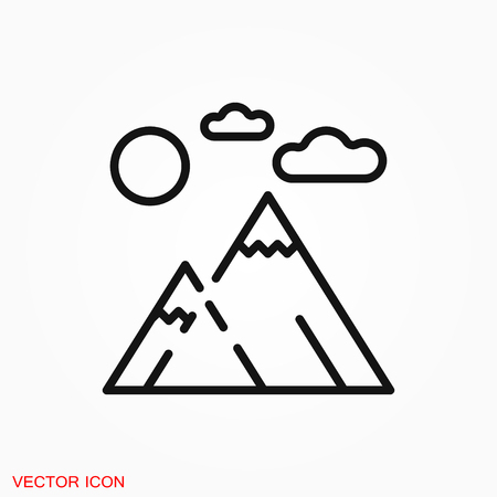 Mountain icon logo, vector sign symbol for design 일러스트