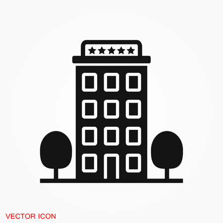 Hotel icon logo, vector sign symbol for design 일러스트