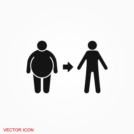 Logo dell'icona di perdita di peso, simbolo del segno di vettore per il design Logo