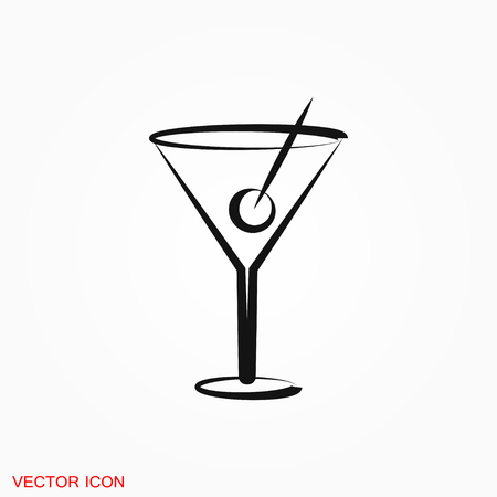 Martini icon logo, vector sign symbol for design 向量圖像