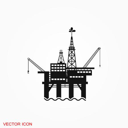 Oil platform iconfuel production logo, vector sign symbol for design