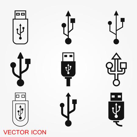 Símbolo de signo de vector de icono de usb Ilustración de vector