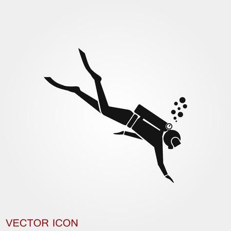 Scuba diver icon vector sign symbol Illustration