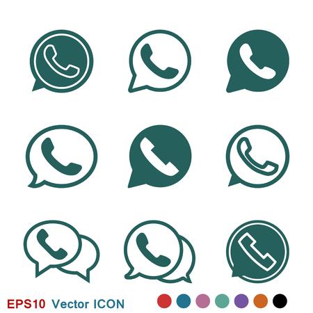 Icône de téléphone, symbole de signe de vecteur d'icône de Whatsapp Vecteurs