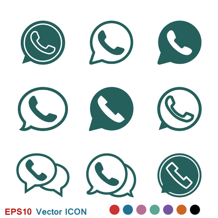 Ikona telefonu, symbol znaku wektor ikona Whatsapp Ilustracje wektorowe