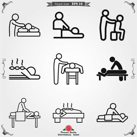 Icona di massaggio. illustrazione vettoriale spa su sfondo bianco