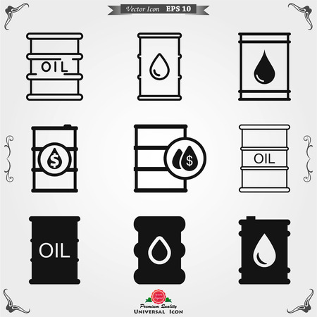 Oil drum container icon logo, vector sign symbol for design Logo
