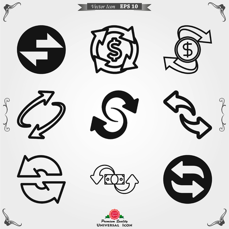 Exchange and convert icon. Arrow trade return. Vector illustration. Vector Illustratie