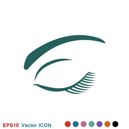 Beautiful eye icon with eyebrow brush logo, illustration, vector sign symbol for design