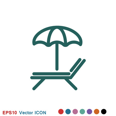 Chaise lounge icon logo, vector sign symbol for design