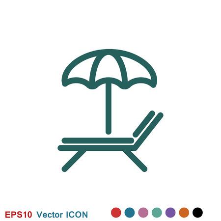 Logotipo de icono de chaise lounge, símbolo de signo de vector para el diseño
