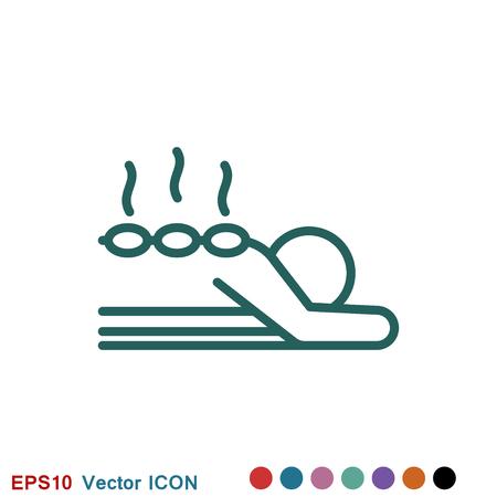 Icona di massaggio. illustrazione vettoriale spa su sfondo bianco Vettoriali