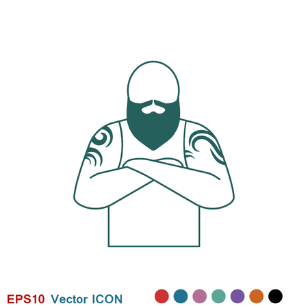Body tattoo icon logo, vector sign symbol for design Vectores