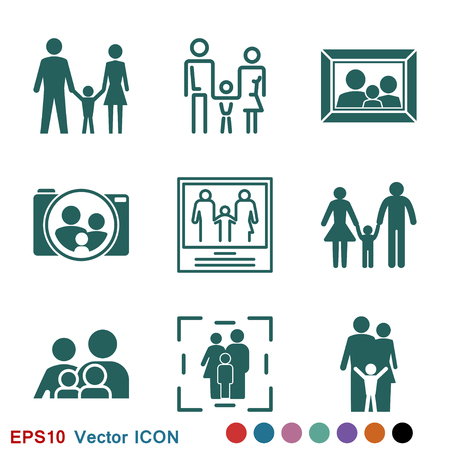 Familiensymbol im flachen Stil. Logo, Illustration, Vektorzeichensymbol für Design Logo