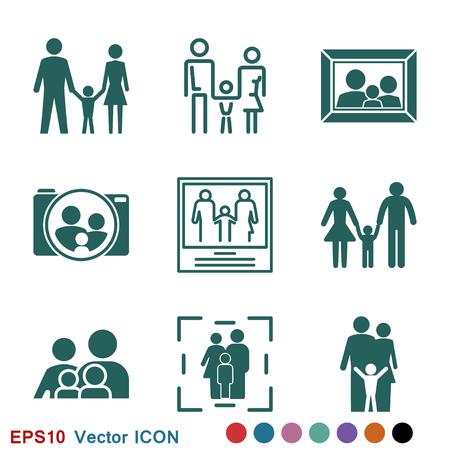 Icona della famiglia in stile piatto. logo, illustrazione, simbolo del segno vettoriale per il design Logo