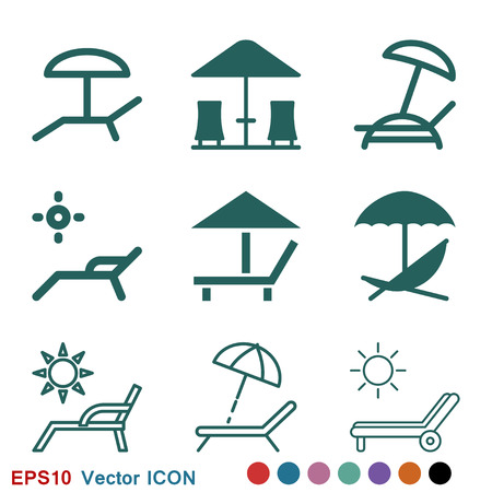 Chaise lounge icon logo, vector sign symbol for design Illustration