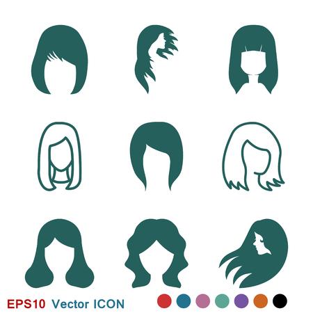 Hair salon icon logo, illustration, vector sign symbol for design