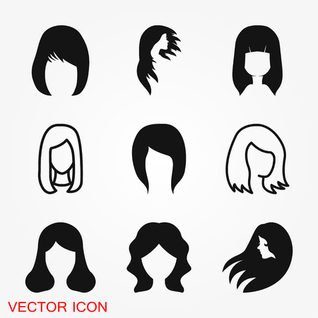 Hair salon icon logo, illustration, vector sign symbol for design