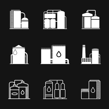 Olie opslagtank pictogram logo, vector teken symbool voor design Logo