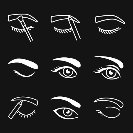 Eyebrow icon. Eyebrow tattoo. logo, illustration, vector sign symbol for design Illusztráció