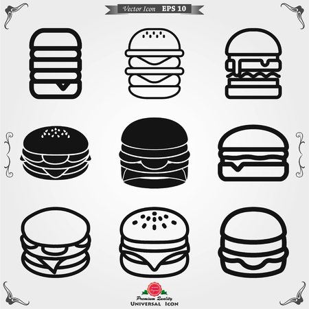Burger icon. Vector of fast food set for UI and UX, website or mobile