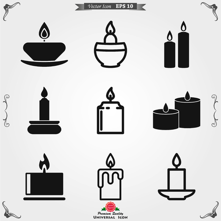 Candle line icon. Candles, holder, flame. Light concept