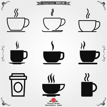 Koffiekopje vector pictogram. Koffie drinken symbool voorraad web illustratie.
