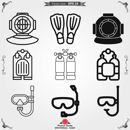 Diving icon, water sport vector sign, symbol for design