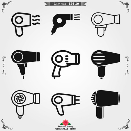 Hairdryer vector icon. Hair drying symbol, modern UI symbol 向量圖像
