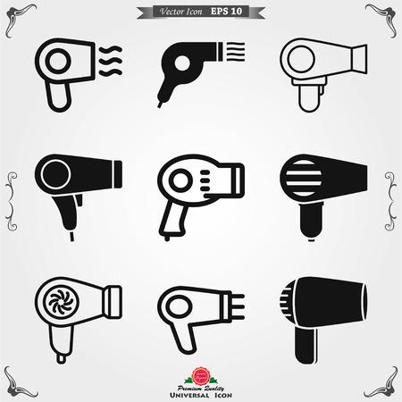 Icône de vecteur de sèche-cheveux. Symbole de séchage des cheveux, symbole d'interface utilisateur moderne Vecteurs