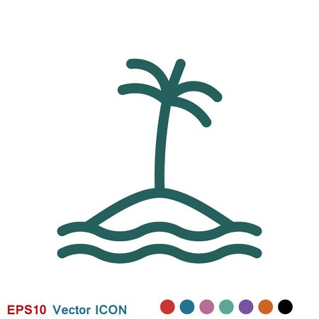Beach icon, summer signs: vector icon of vacation and tourism Illustration