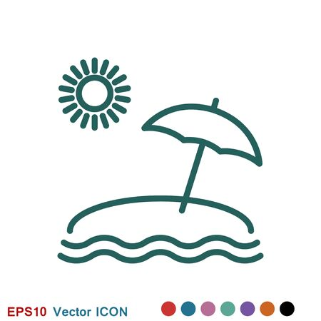 Beach icon, summer signs: vector icon of vacation and tourism Ilustração