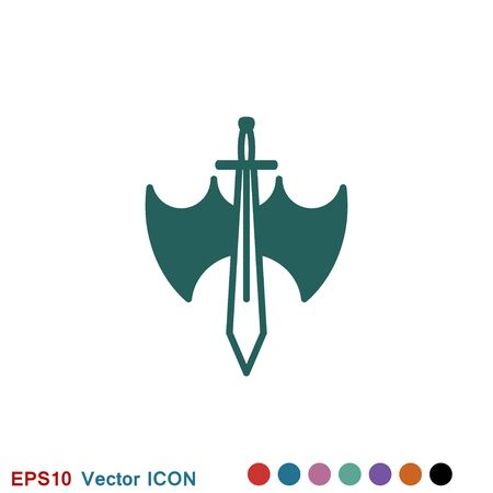 Swords cross crosswise. Vector flat outline icon illustration isolated on white background.