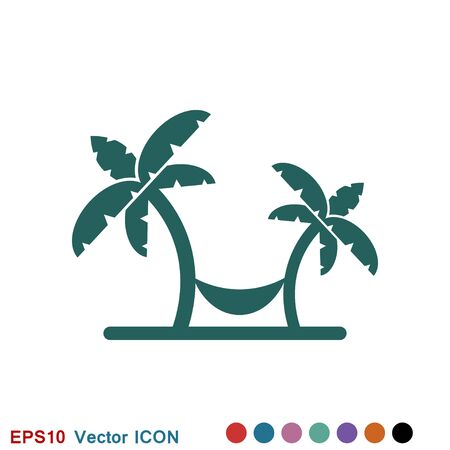 Beach icon, summer signs: vector icon of vacation and tourism Ilustrace