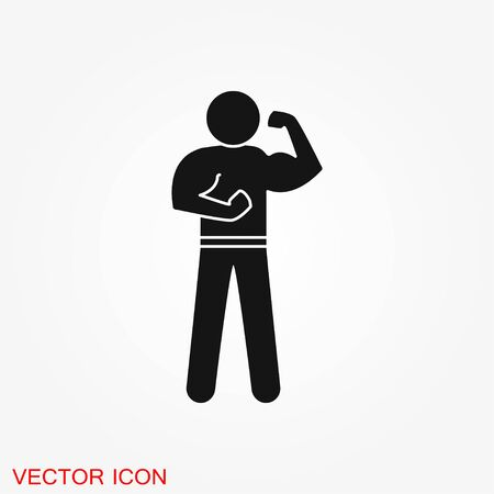 Bodybuilder icon, muscle sign. Vector illustration for web design banner or print poster