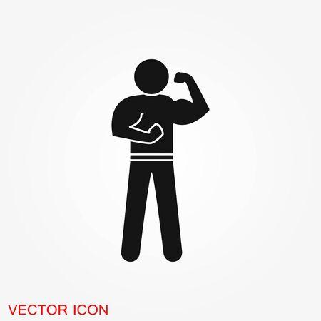 Bodybuilder icon, muscle sign. Vector illustration for web design banner or print poster