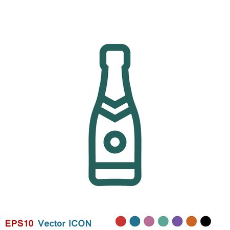 Glass of champagne icon, celebration concept icon on white background