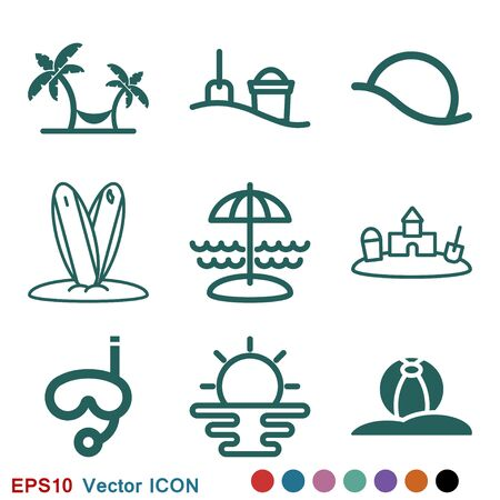 Beach icon, summer signs: vector icon of vacation and tourism