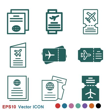Travel documents icon, passport with tickets flat icon isolated. Concept travel and tourism. Vector illustration.