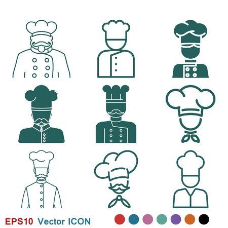 Chef-kokpictogram in een vectorembleem van de kokende hoed Keuken symbool. Vector Illustratie