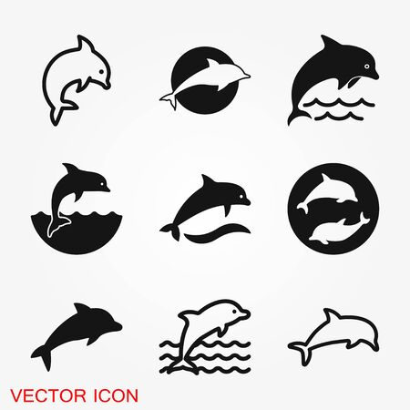 Dolphin aquatic mammal vector icon for animal apps and websites Stock Vector - 127579009