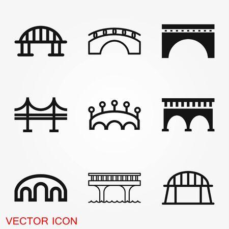 Brückensymbol im flachen Stil. Zugbrückenvektorillustration auf schwarzem rundem Hintergrund mit langem Schatten. Straßengeschäftskonzept.