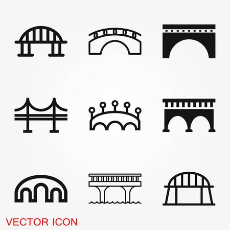 Bridge icon in flat style. Drawbridge vector illustration on black round background with long shadow. Road business concept.