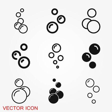 Icône de bulle isolée sur fond. Icône de savon ou d'eau Art vectoriel.