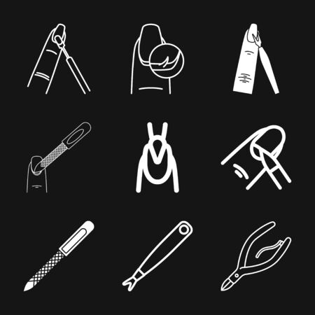 Nail care icon. Pedicure and manicure equipment. Isolated vector illustrations