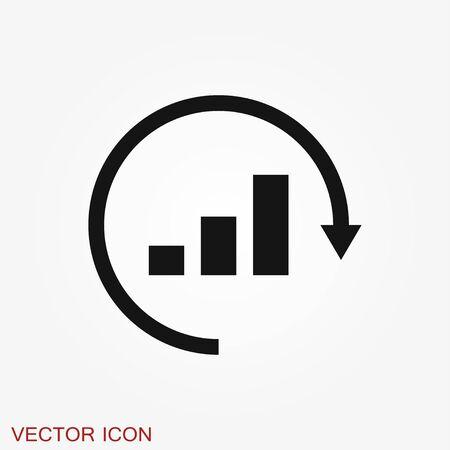 Analytics icon. Vector illustration style is flat iconic symbol, black color Ilustração